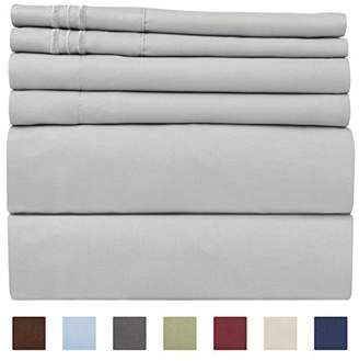 +Hotel by K-bros&Co King Size Sheet Set - 6 Piece Set - Hotel Luxury Bed Sheets - Extra Soft - Deep Pockets - Easy Fit - Wrinkle Free - Breathable & Cooling Sheets - Gray - Light Grey Bed Sheets - Kings Sheets - 6 PC