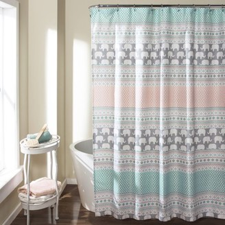 At Walmart Lush Decor Elephant Stripe Shower Curtain Turquoise Pink