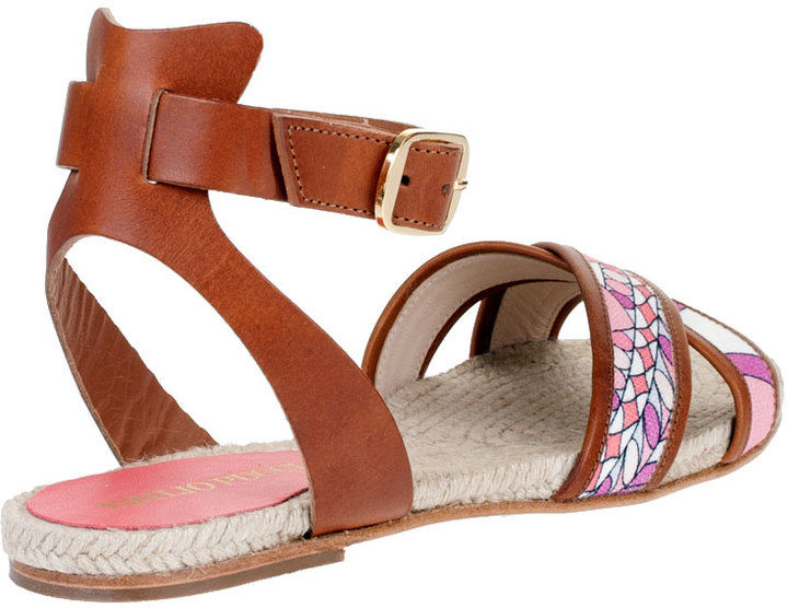 Emilio Pucci Printed canvas and leather sandal