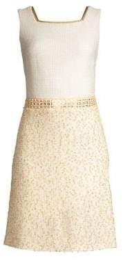 St. John Threaded Pique Contrast A-Line Dress