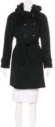 Rebecca Taylor Ruffle Wool-Blend Coat
