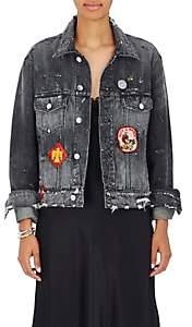 Amiri Women's Patchwork Distressed Denim Jacket-Med Black Size M