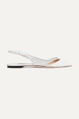 Jimmy Choo Erin Pvc And Leather Slingback Point-toe Flats - White