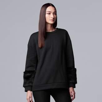 Vera Wang Women's Simply Vera Faux-Fur Trim Sweatshirt