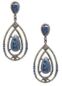 Champagne Diamond, Blue Sapphire & Sterling Silver Rose Cut Earrings