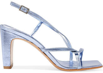 BY FAR - Carrie Metallic Leather Slingback Sandals - Blue