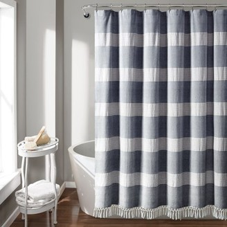 "Lush Decor Tucker Stripe Yarn Dyed Cotton Knotted Tassel 72""x72"" Shower Curtain"