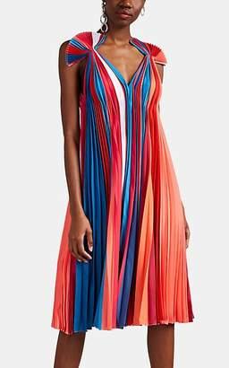 Prabal Gurung Women's Striped Pleated Silk Trapeze Dress - Rainbow Multi