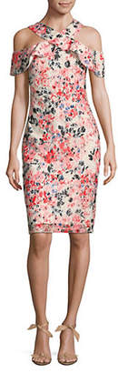 Rachel Roy Floral Print Lace Crossover Midi Dress
