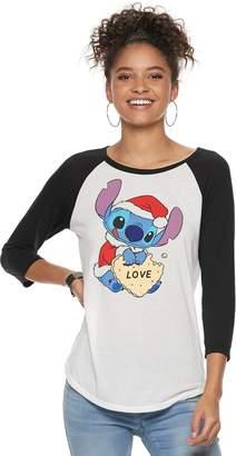 Disney Disney's Lilo & Stitch Juniors' Christmas Cookie Raglan Tee