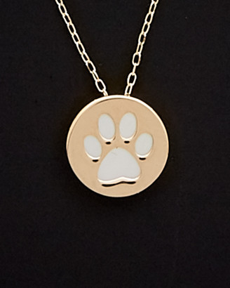Mother of Pearl 14K Italian Gold 9Mm Mother-Of-Pearl Paw Print Necklace