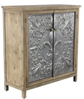 DecMode Decmode Rustic 38 X 36 Inch Rectangular Two-Door Wood and Metal Cabinet