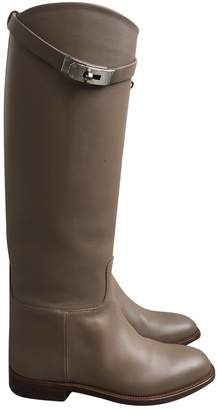 Hermes Jumping Beige Leather Boots