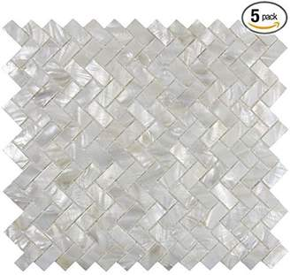 Vogue Genuine Mother of Pearl Oyster Herringbone Shell Mosaic Tile for Kitchen Backsplashes, Bathroom Walls, Spas, Pools by Tile