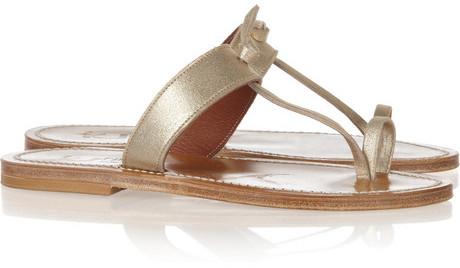 K Jacques St Tropez Ganges metallic brushed-leather sandals
