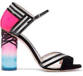 Nicholas Kirkwood Mesh-Trimmed Suede And Patent-Leather Sandals
