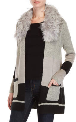 Cliche Faux Fur Collar Duster Cardigan