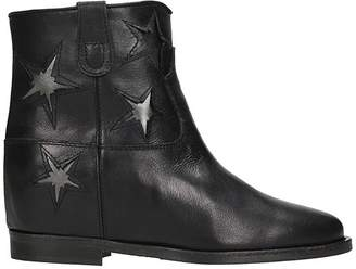 Via Roma 15 Star Black Calf Leather Wedge Ankle Boots