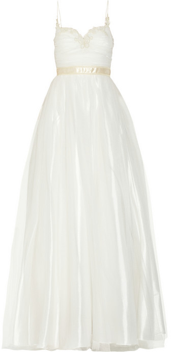 Mikael Aghal Lace-trimmed tulle gown
