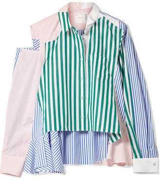 Sacai Cutout Patchwork Striped Cotton-poplin Shirt - Green