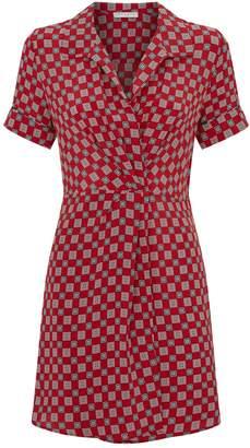 Sandro Geometric Silk Shirt Dress