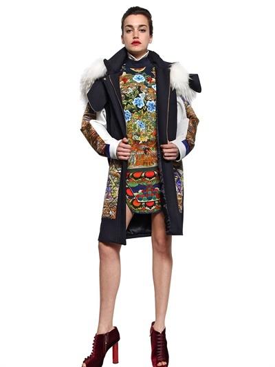 Just Cavalli Raccoon Fur Hood Satin Wool Felt Coat