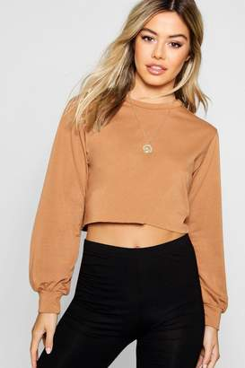 boohoo Petite Raw Hem Sweat Top
