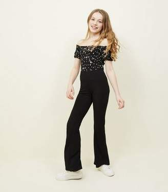 New Look Girls Black Ribbed Flared Trousers