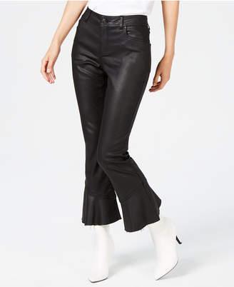 INC International Concepts I.n.c. Coated Ruffle-Hem Jeans