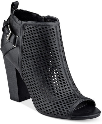 G by Guess Jerzy Peep-Toe Block-Heel Booties Women's Shoes $69 thestylecure.com