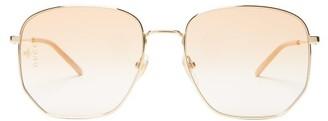 Gucci Square Frame Metal Glasses - Mens - Gold