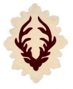 Twinkle Living Deer Head Mat - Cranberry/Ecru