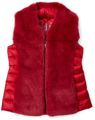 ADD Girls 7-16) Red Real Fur Down Vest