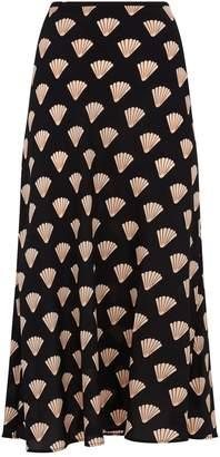 Rixo Silk Shell Midi Skirt