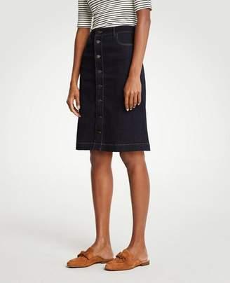 Ann Taylor Button Front Denim Skirt