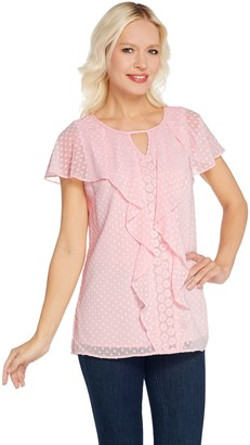 Isaac Mizrahi Live! Clip Dot Blouse with Ruffles & Lace