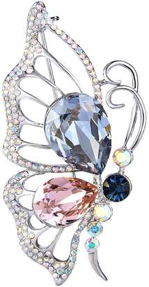 Swarovski EleQueen Women's Silver-tone Flying Butterfly Brooch Pin Multicolor Adorned with Crystals