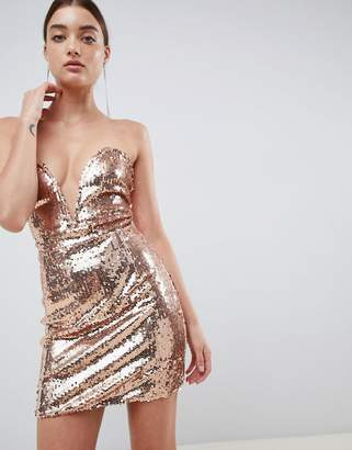 In The Style Daelyn rose gold sequin plunge bandeau mini dress