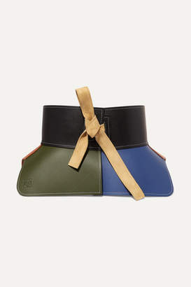 Loewe Obi Suede-trimmed Color-block Leather Waist Belt - Green