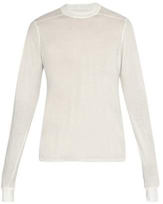 Rick Owens Semi Sheer Long Sleeved Cotton Top - Mens - White