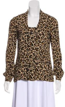 Tory Burch Silk Leopard Print Button-Up