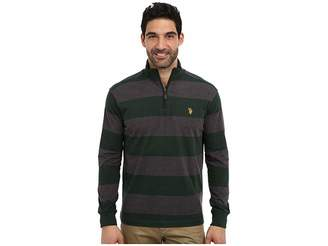 U.S. Polo Assn. Striped Rib Mock Neck 1/4 Zip Pullover Men's Long Sleeve Pullover