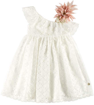 Carrera Pili One-Shoulder Geo Dress w/ Flower Ornament, White, Size 4-10