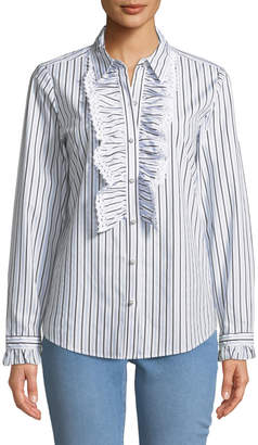 Karl Lagerfeld Paris Lace and Ruffle Striped Button-Down Blouse
