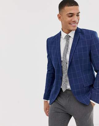 Selected Skinny Suit Jacket In Grid Check