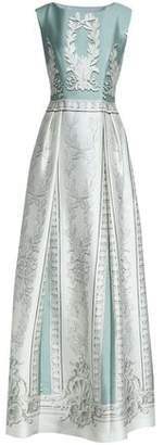 Alberta Ferretti Pleated Printed Cotton And Silk-Blend Duchesse-Satin Gown