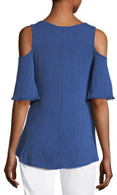 Neiman Marcus Crochet-Trim Cold-Shoulder Top