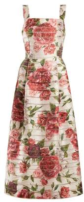 Dolce & Gabbana Peony And Rose Print Midi Dress - Womens - White Multi
