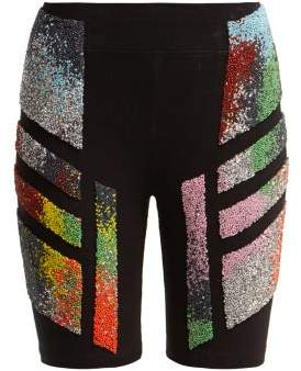 Germanier - Bead Embellished Stretch Cotton Jersey Shorts - Womens - Black Multi