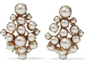 Elizabeth Cole Gold-Tone Faux Pearl Earrings